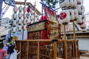 abura tenjin yama outdoor float display lanterns gion festival kyoto japan