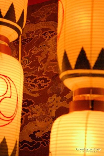 mousou yama dragon textile night lanterns gion festival kyoto japan