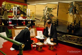 jomyo yama treasure display offerings preparation kimono men gion festival kyoto japan