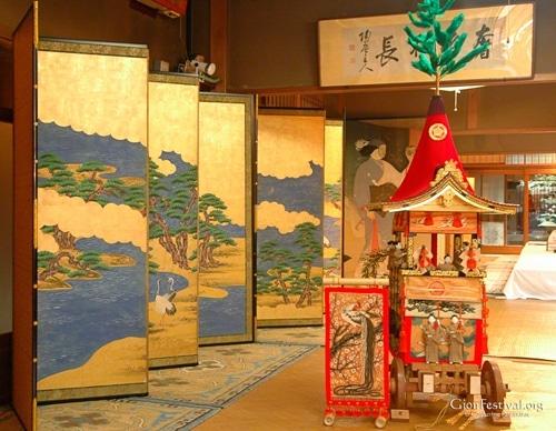 machiya traditional architecture folding screen mini float byobu matsuri gion festival kyoto japan